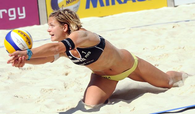 Laura Ludwig, jugadora alemana de voley playa.